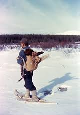 man on snowshoes