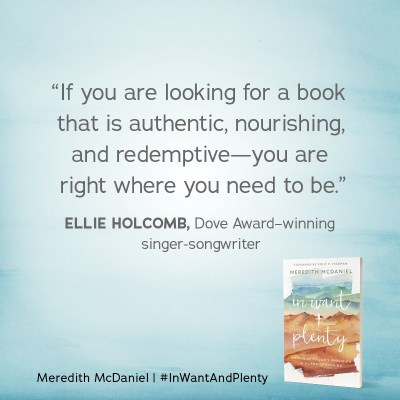 """If you are looking for a book that is authentic, nourishing, and redemptive-you are right where you need to be."" - Ellie Holcomb, Dove Award-winning singer-songwriter  Review of In Want + Plenty"