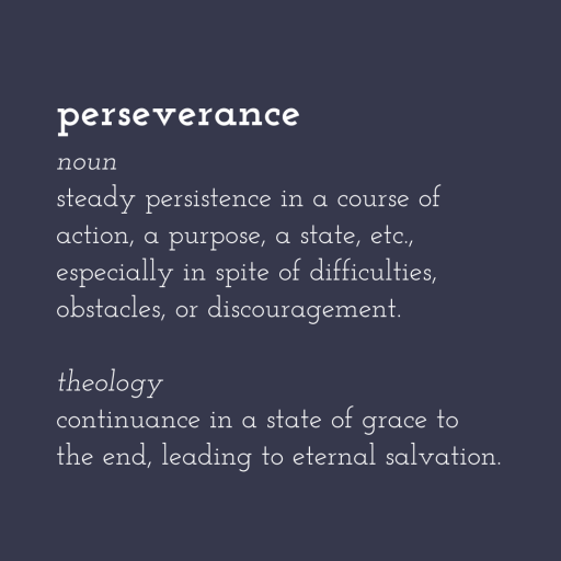 perseverance noun steady persistence in a course of action, a purpose, a state, etc., especially in spite of difficulties, obstacles, or discouragement.  theology continuance in a state of grace to the end, leading to eternal salvation.