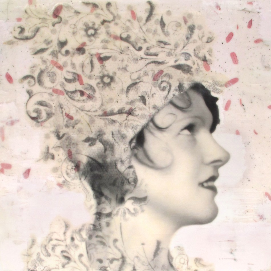 "Billie, photo collage, encaustic and mixed media, 12x12x2"" ©MarybethRothman"