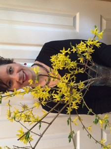 Mary Campisi in Spring with forsythia