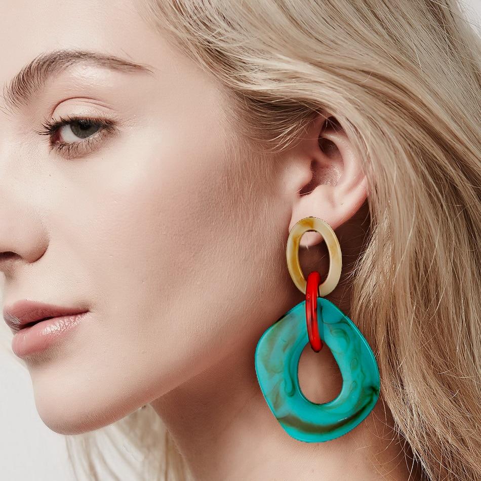 Resin Chain Link Drop Earrings (4 Colors)