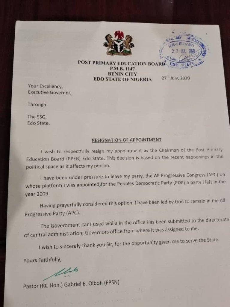 Okoudoh Patrick Iyoha Resigns As DG Of Obaseki/Shaibu Movement, Joins APC