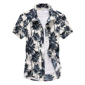 Mens Short Sleeve Shirt Fast drying Summer Casual Floral Beach Shirts