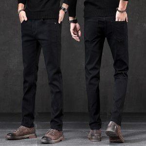 High quality casual slim fit elastic black jeans men, men's pencil pants