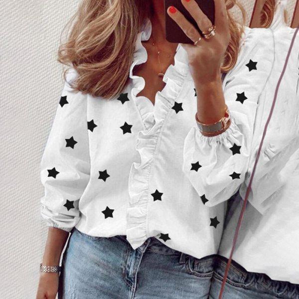 Autumn Long Sleeve V Neck Button Shirt Women's Clothing Slim