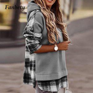 Autumn Winter Fashion Plaid Leopard Print Sweatshirts Women