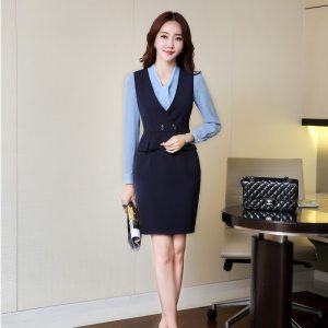 Slim Blazers Suits With Blouses And Dress For Ladies