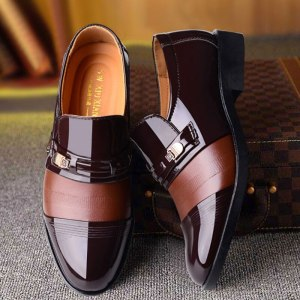 Men's Business Dress Hollow Leather Shoes Pointed Toe Shoes