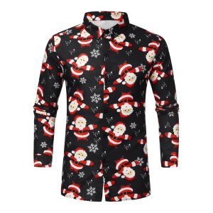 Feitong Christmas Shirts For Men Casual Candy Printed Top