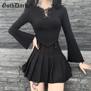Goth Dark Gothic T-shirts Long Sleeve O-neck Women Crop Tops Tee