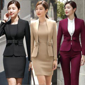 HOT Wine Black Apricot female elegant woman's office blazer dress jacket suit