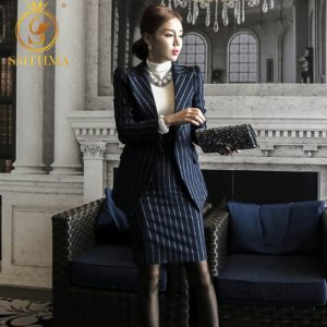 High Quality Navy and white women suits With Jackets
