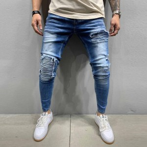 Men Stretchy Ripped Skinny Biker blue denim Jeans Destroyed Hole Taped Slim Fit
