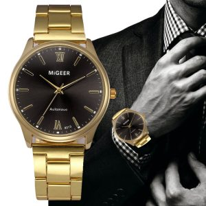 Fashion Watch Men Crystal Stainless Steel Analog Quartz Wrist Watch