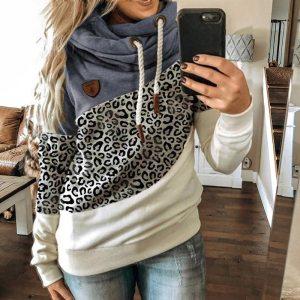Winter Leopard Print Sweatshirts Women Casual Turtleneck Long Sleeve