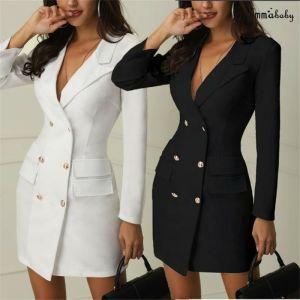 Women Blazer Dress Suit Double Breasted Pockets Coat
