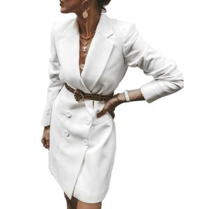 Ladies V Neck Long Sleeve Double Breasted Blazer Causal Office Mini Dress