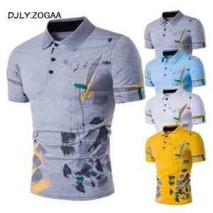 Men Polo Shirt Short Sleeve Casual Male Polos Shirts Print Slim Fit