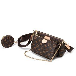Famous Brand Designer 3-IN-1 Messenger Handbag Leather Floar Crossbody Handbag