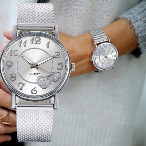 Ladies Watch Silver Heart Dial Silicone Mesh Belt Wrist Watch