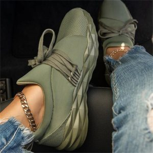 Women Sneaker Lace Up Flat Walking Running Vulcanized Shoes