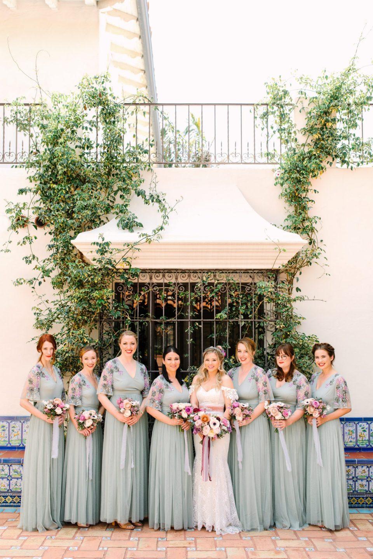 Bridal party in embellished seafoam green dresses - www.marycostaweddings.com