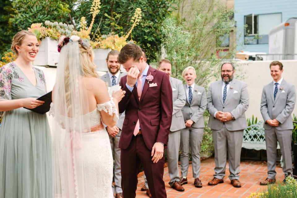 Groom crying at wedding - www.marycostaweddings.com