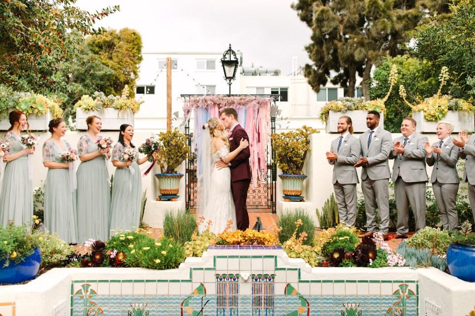 First kiss at wedding ceremony - www.marycostaweddings.com