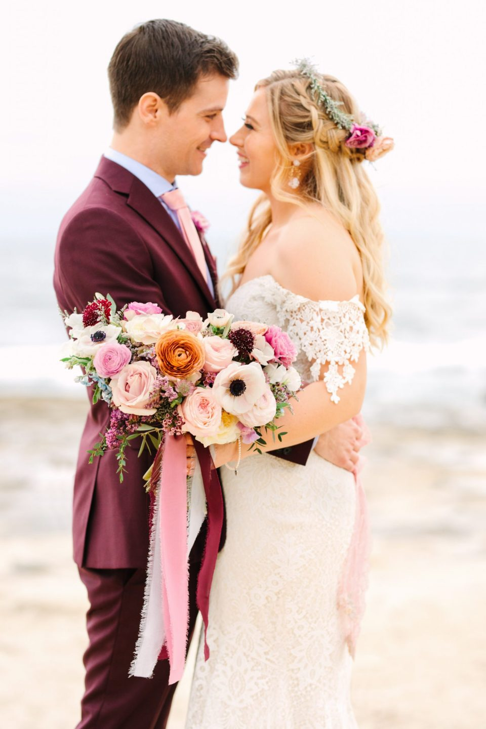 Bouquet close up at the beach - www.marycostaweddings.com