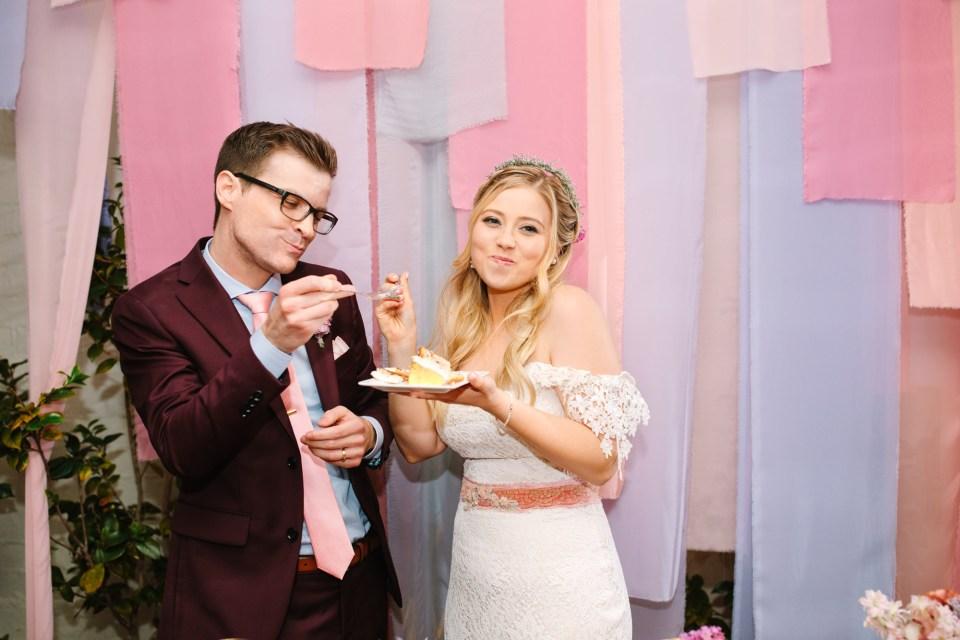 Bride and groom eating cake - www.marycostaweddings.com