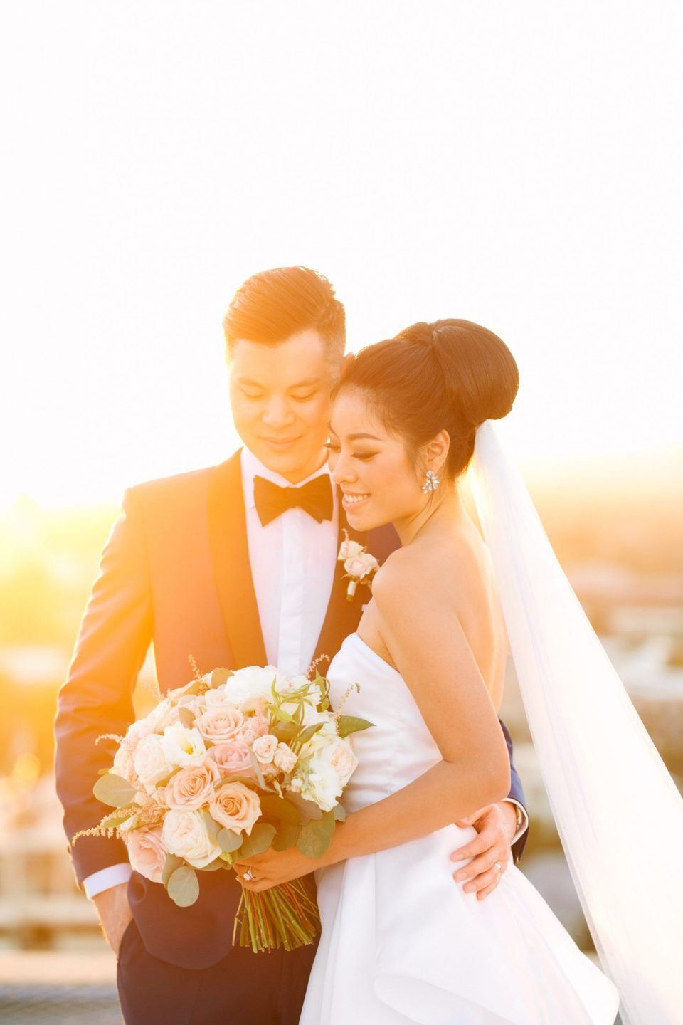 Classic wedding portrait at sunset by Mary Costa Photography