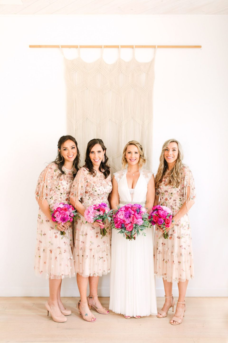 Bridal party in Needle & Thread gowns www.marycostaweddings.com