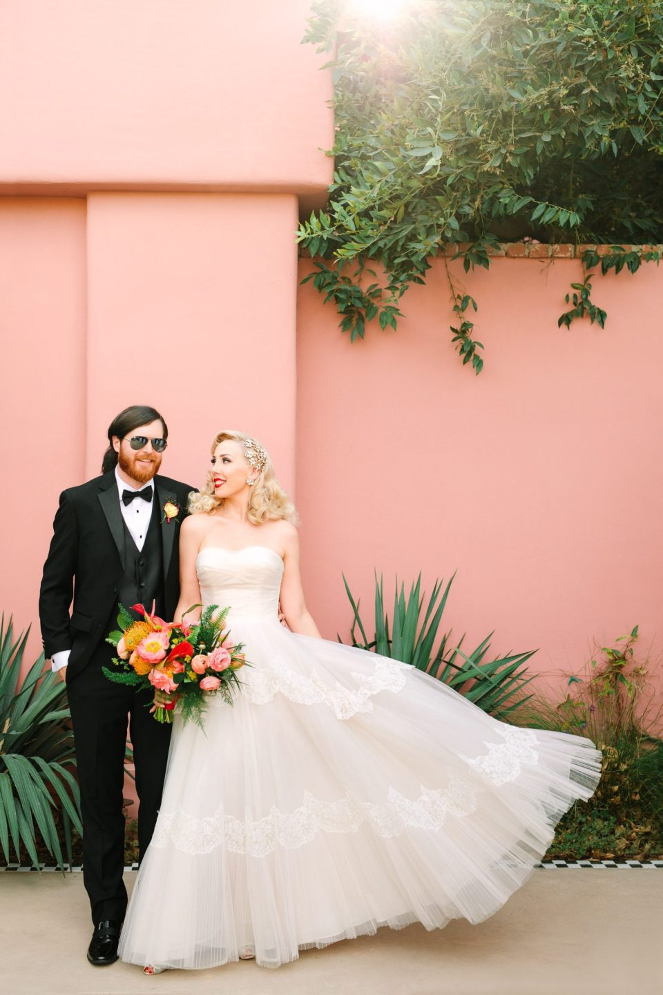 Wedding couple at pink Sands Hotel by Mary Costa Photography