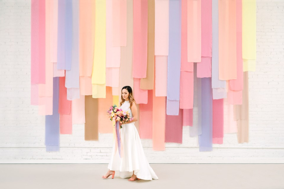 Chiffon pastel wedding backdrop at HNYPT Los Angeles by Mary Costa Photography