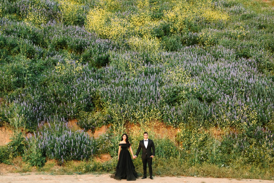 Couple with lupins by Mary Costa Photography