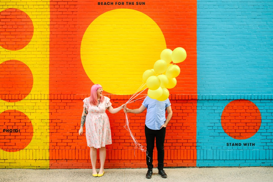 Colorful NYC balloon engagement session by Mary Costa Photography