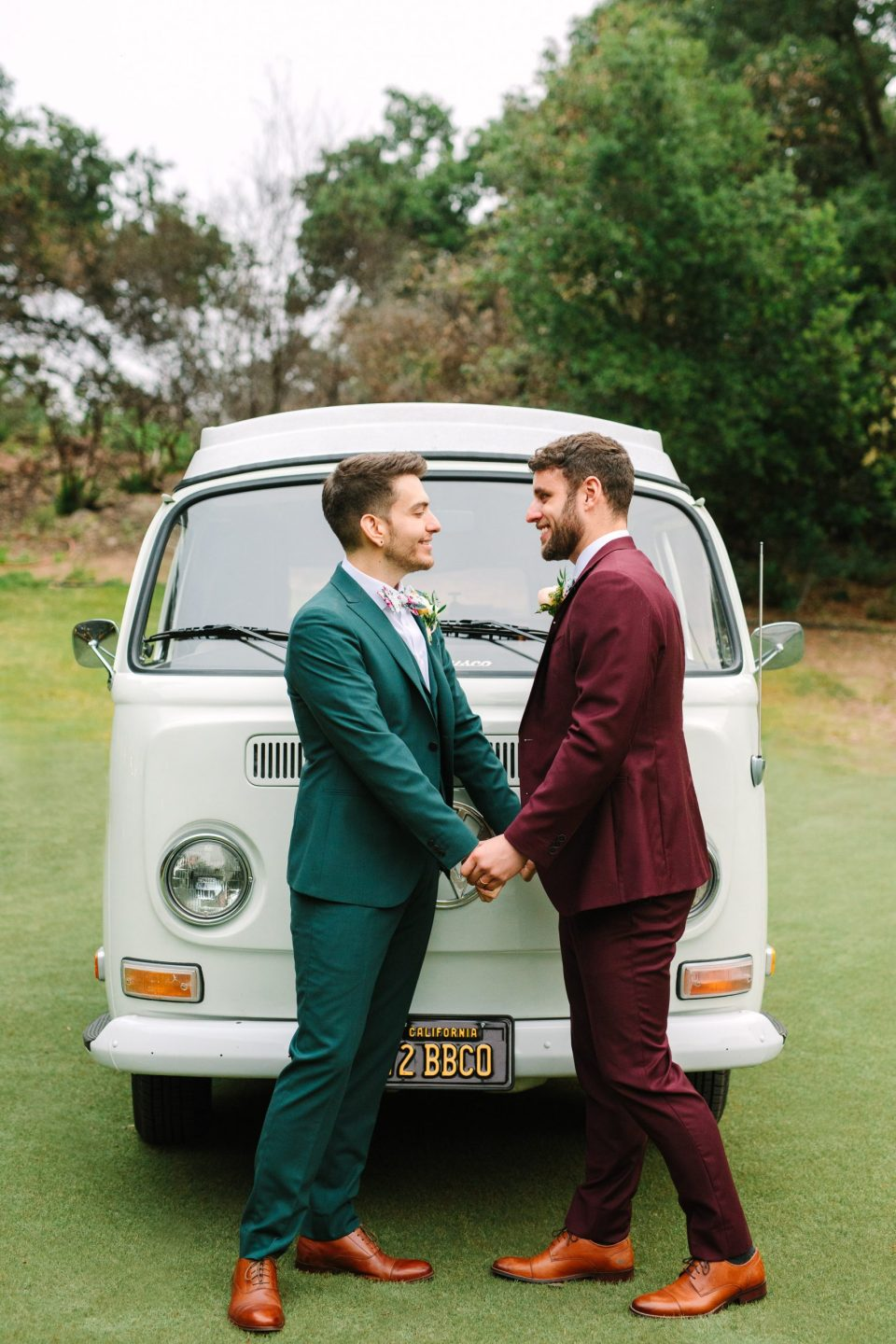 Two grooms with VW van by Mary Costa Photography