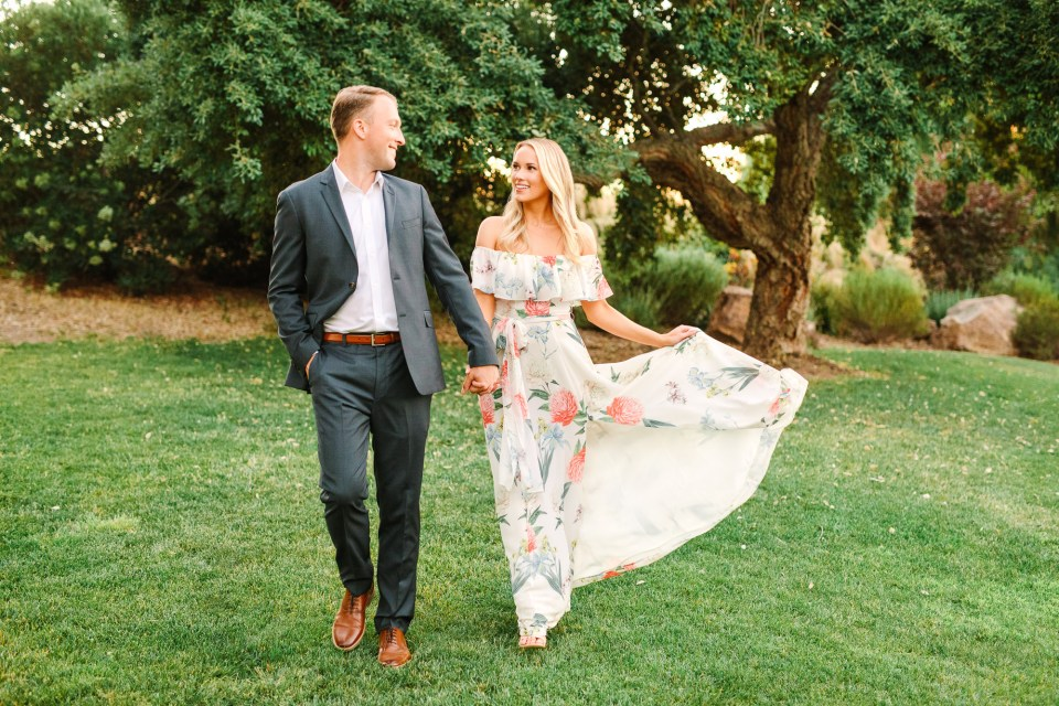 Couple walking at Quail Ranch by Mary Costa Photography