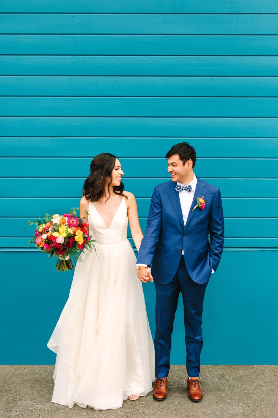 Sodo Park colorful wedding couple by Mary Costa Photography
