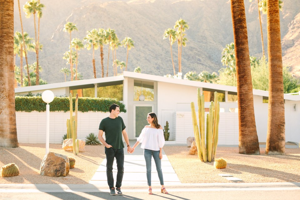 Mid Century Modern house engagement session www.marycostaweddings.com