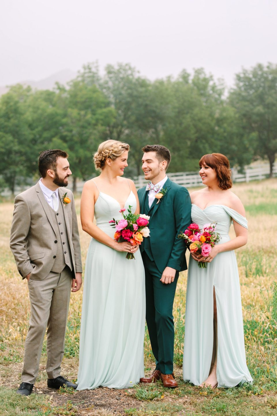 Mint green wedding party by Mary Costa Photography