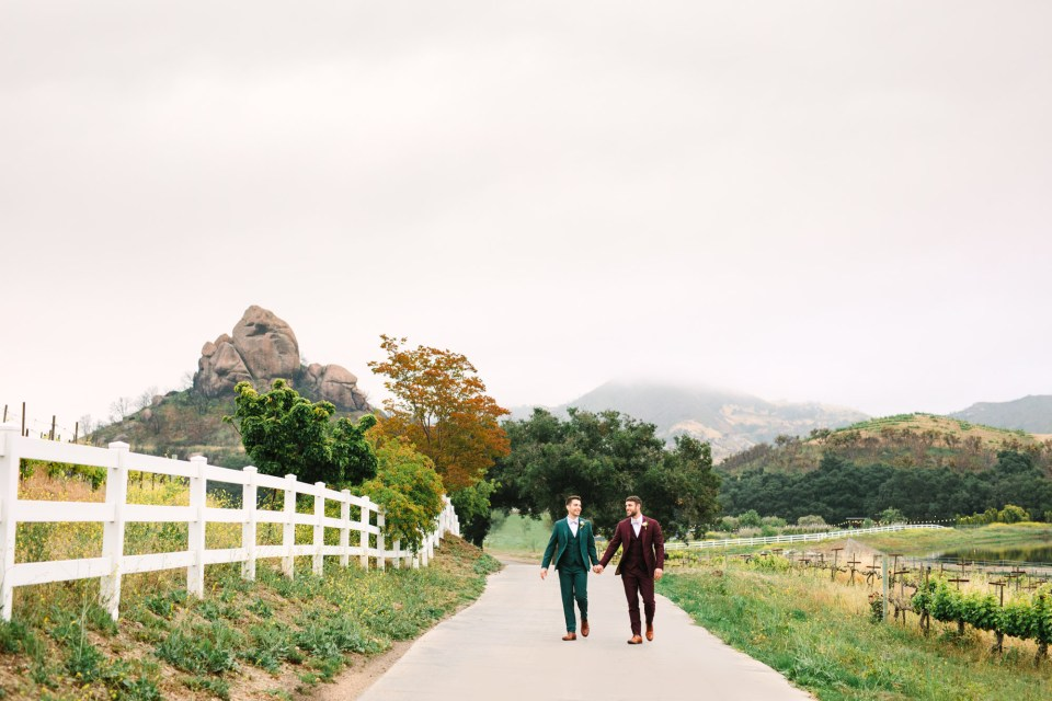 Two grooms at Saddlerock Ranch Malibu by Mary Costa Photography