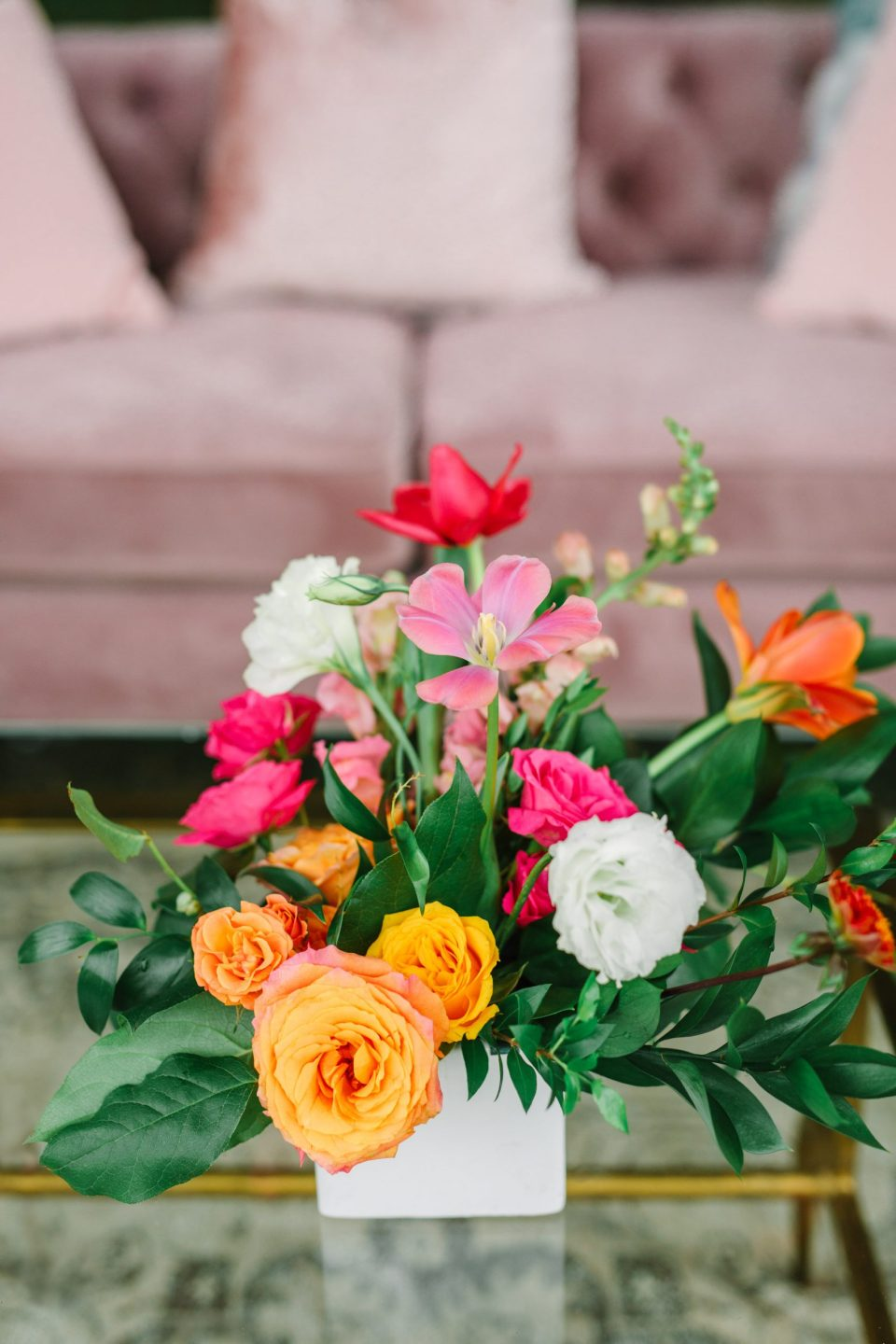 Cocktail hour florals by Mary Costa Photography