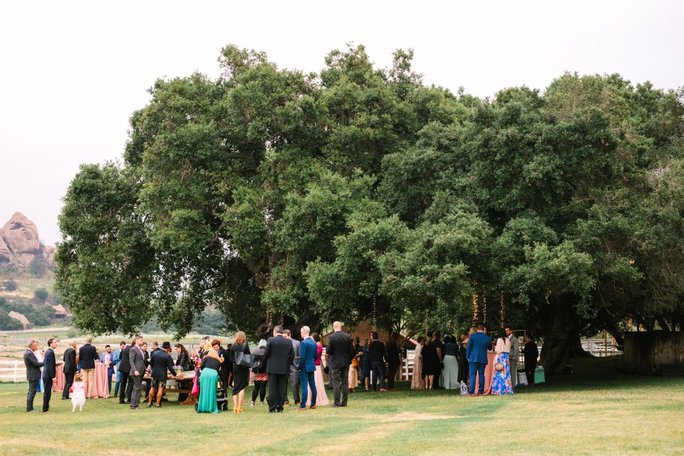 Wedding reception at Saddlerock Ranch by Mary Costa Photography