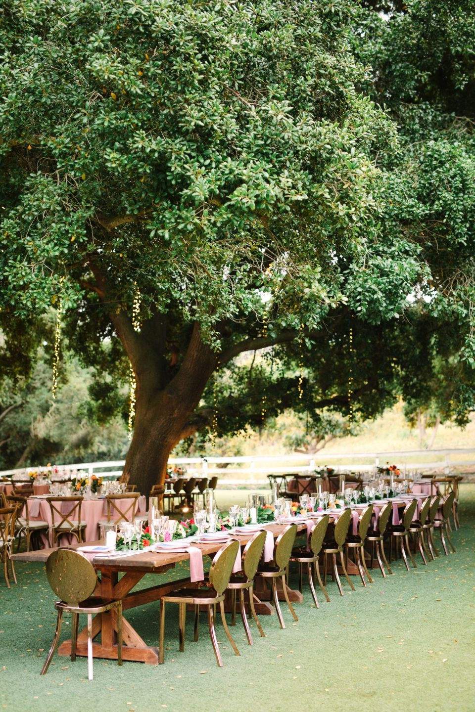 Saddlerock Ranch rose gold wedding reception by Mary Costa Photography