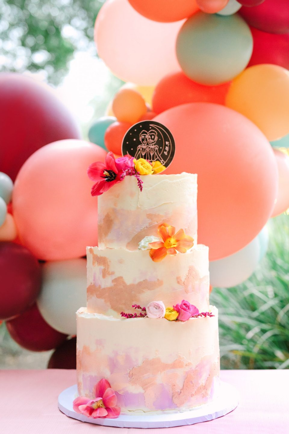 Custom watercolor cake by Mary Costa Photography