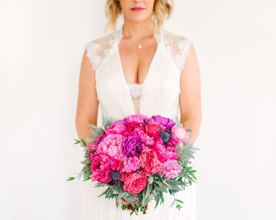 Bride with colorful bouquet at Ruby Street Los Angeles www.marycostaweddings.com
