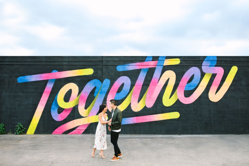 Colorful mural DTLA engagement session www.marycostaweddings.com