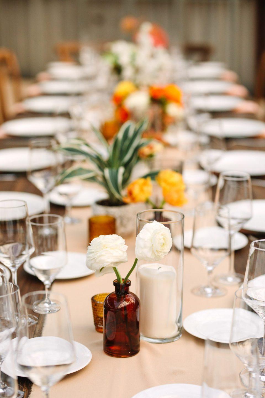 Floral vase detail at wedding reception www.marycostaweddings.com